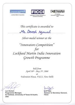 Innovators Competition Certificate